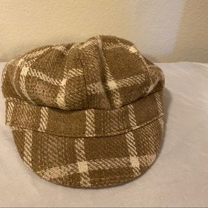 Nine West Camel Plaid Newsboy Hat